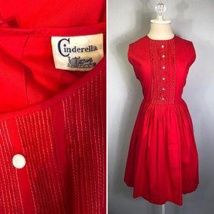 Vintage 1950s Disney Cinderella RED Dress Cocktail